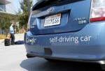 MOUNTAIN VIEW, CA - SEPTEMBER 25: A Google self-driving car is displayed at the Google headquarters on September 25, 2012 in Mountain View, California.